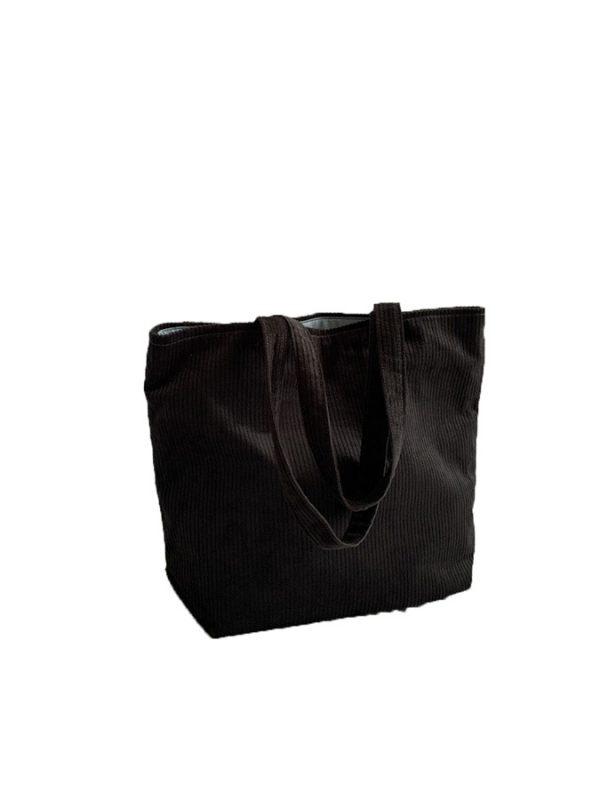 Corduroy Tote - Black- Parabola Designs
