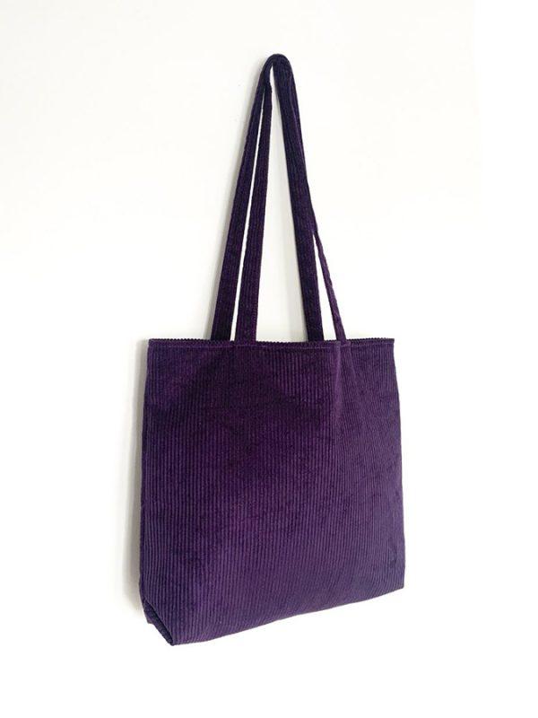Corduroy Tote - Purple - Parabola Designs